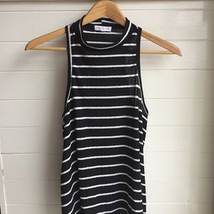 [Socialite] Black and White Striped High Neck Top